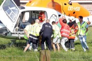 20060628 - OEKENE, BELGIUM : Rescue services intervene after an explosion in a painting cabin, Wednesday 28 June 2006, in Oekene. 3 people died and 2 got injured in the blast. BELGA PHOTO KURT DESPLENTER *** Local Caption ***